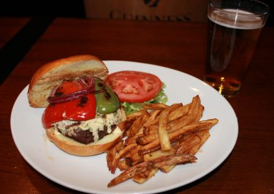 Cajun Burger with French Fries and a Beer